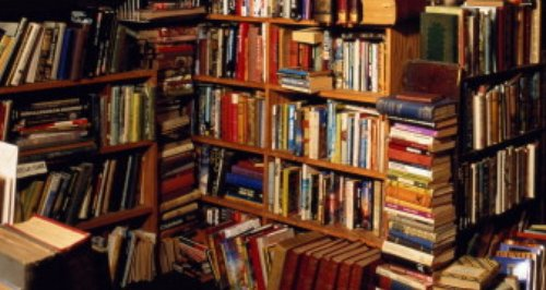 a large number of books in a bookshop