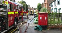 Firefighters tackling the fire in Staplehurst