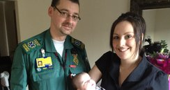 Alliza-Lilly with paramedic Ian and mum Michelle