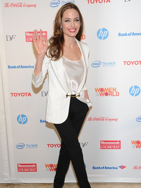Angelina Jolie wears white blazer and black jeans