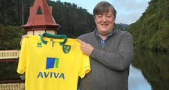 Stephen Fry helps to launch  new Norwich City Kit