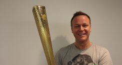Nick Snaith with the Olympic Torch
