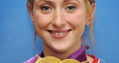 Laura Trott with two gold olympic medals