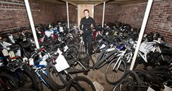Sgt Bev Weston with stolen bikes in exeter