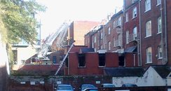 burnt out building, southern hay, exeter, turntabl