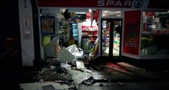 Shop front destroyed by ram-raiders