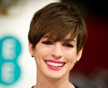 Anne Hathaway with short brown hair