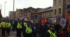 Police and protesters in Cambridge