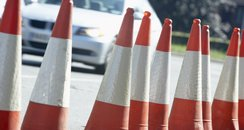 cones at the side of the road