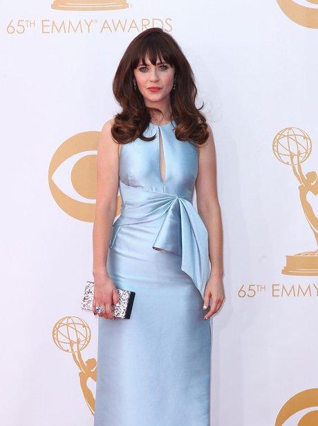 Zooey Deschanel in a blue dress