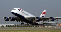 Airbus A380 taking off from Heathrow