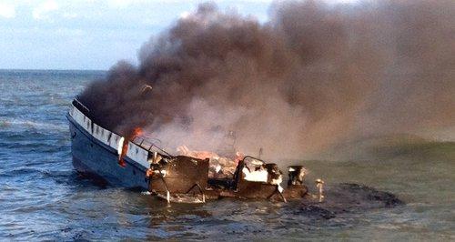 Burning Boat Lowestoft