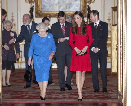 The Queen and Kate Middleton walking