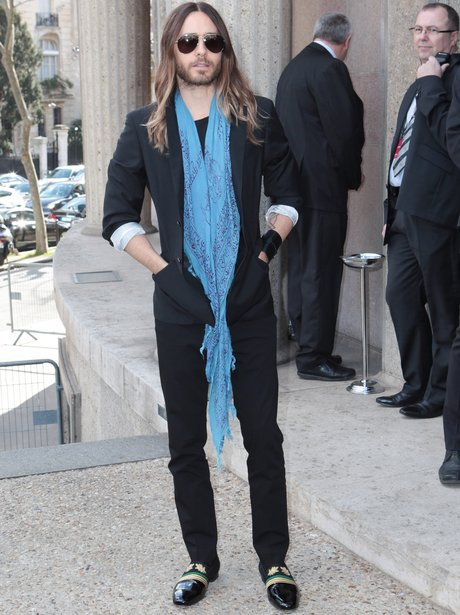 Jared Leto in blue scalf and aviator sunglasses