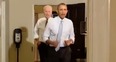 The US President and Vice President jog in suits