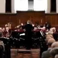 Orchestra playing in a church