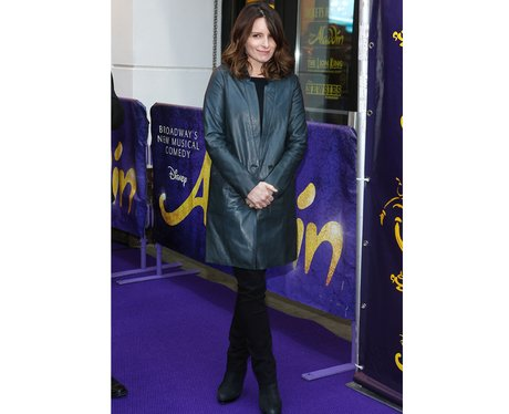 Tina Fey in a green leather coat