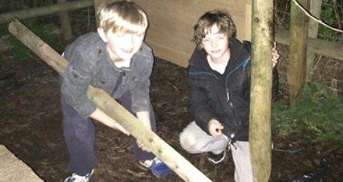 Ed's kids making a den