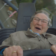 Old lady riding a rollercoaster
