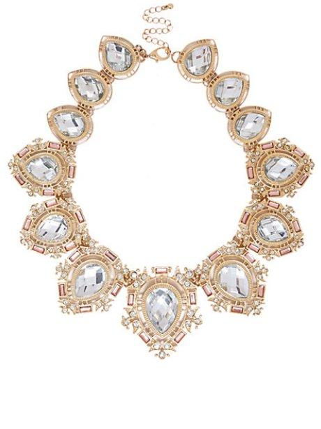 River Island Gold Gem Encrusted Necklace