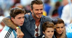 David Beckham and sons at the World Cup Final 2014