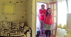 Jamie and Emily Pharro home covered in Post It