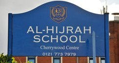 Sign of Al-Hijrah School in Bordesley Green, Birmi