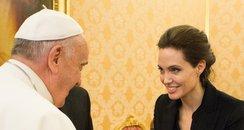 Angelina Jolie meets Pope Francis I