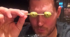 Michael Buble having a cocktail