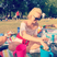 17. Margot Robbie gets cheeky in the park as she mixes up a jug of Pimms.