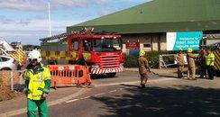 Fire crews arrive at East Sands Leisure Centre.