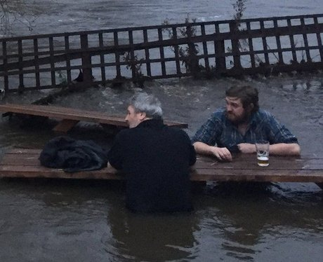 Flooded beer garden