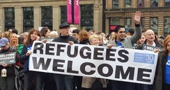 Campaigners welcome refugees in George Square