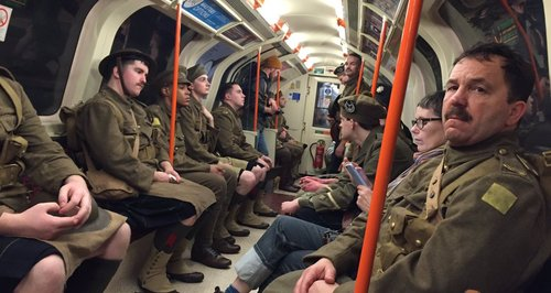 WWI Soldiers spotted on Glasgow Tube