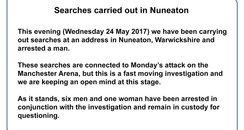 Manchester Attack Nuneaton arrest