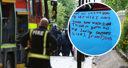 Child's Handwritten Note To Fire Brigade