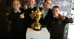 Dunblane pupils and Wimbledon trophy